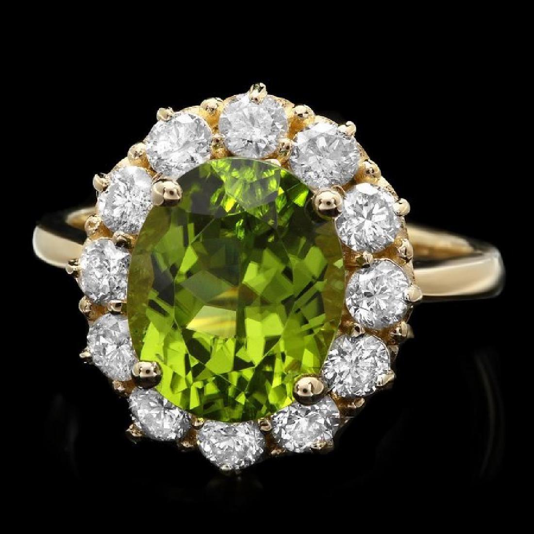 14k Gold 4.50ct Peridot 1.20ct Diamond Ring