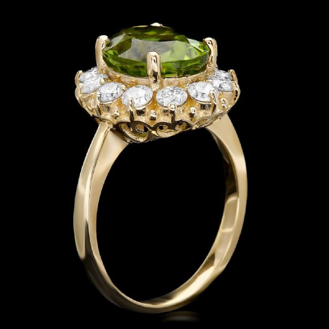 14k Gold 4.50ct Peridot 1.20ct Diamond Ring - 2