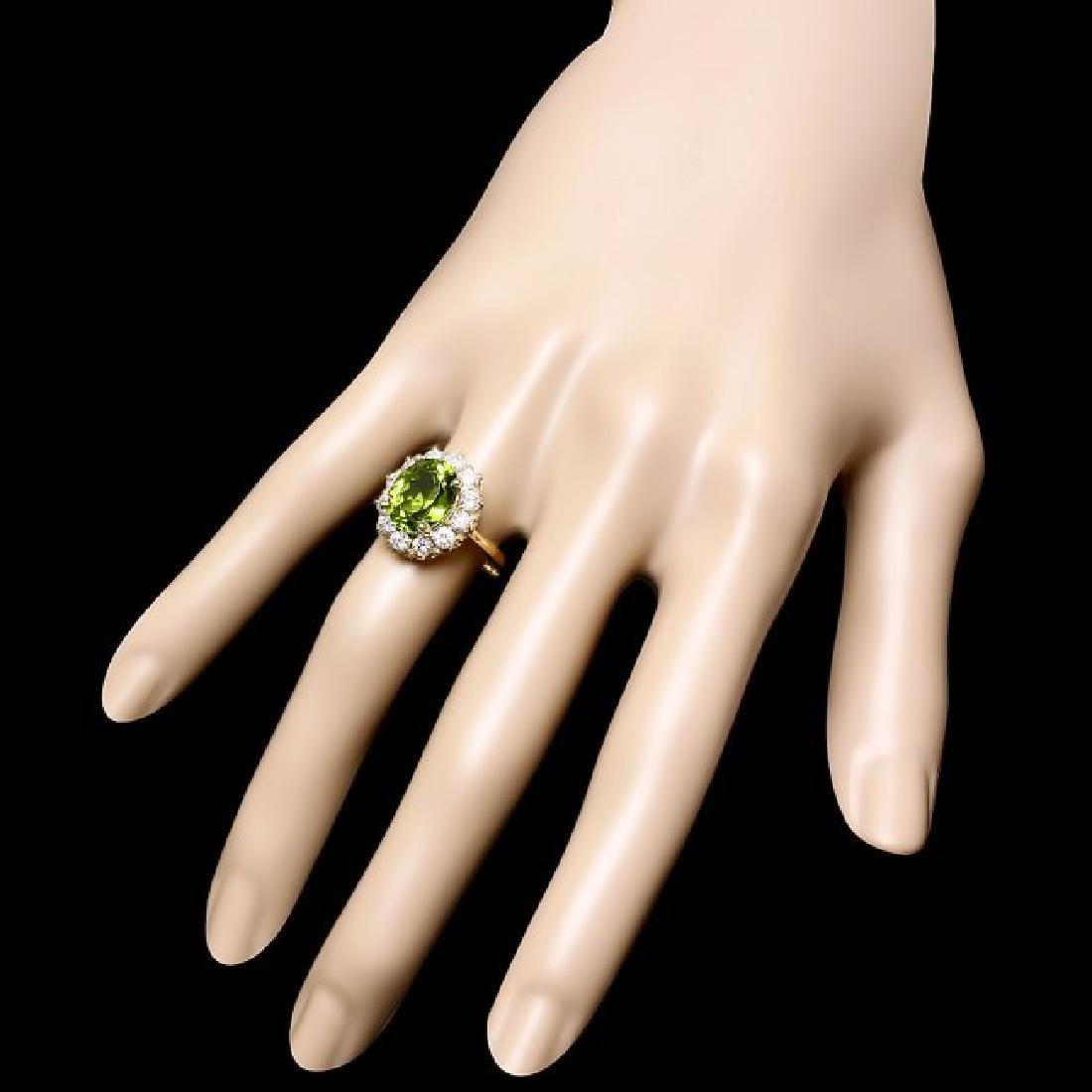14k Gold 4.50ct Peridot 1.20ct Diamond Ring - 3