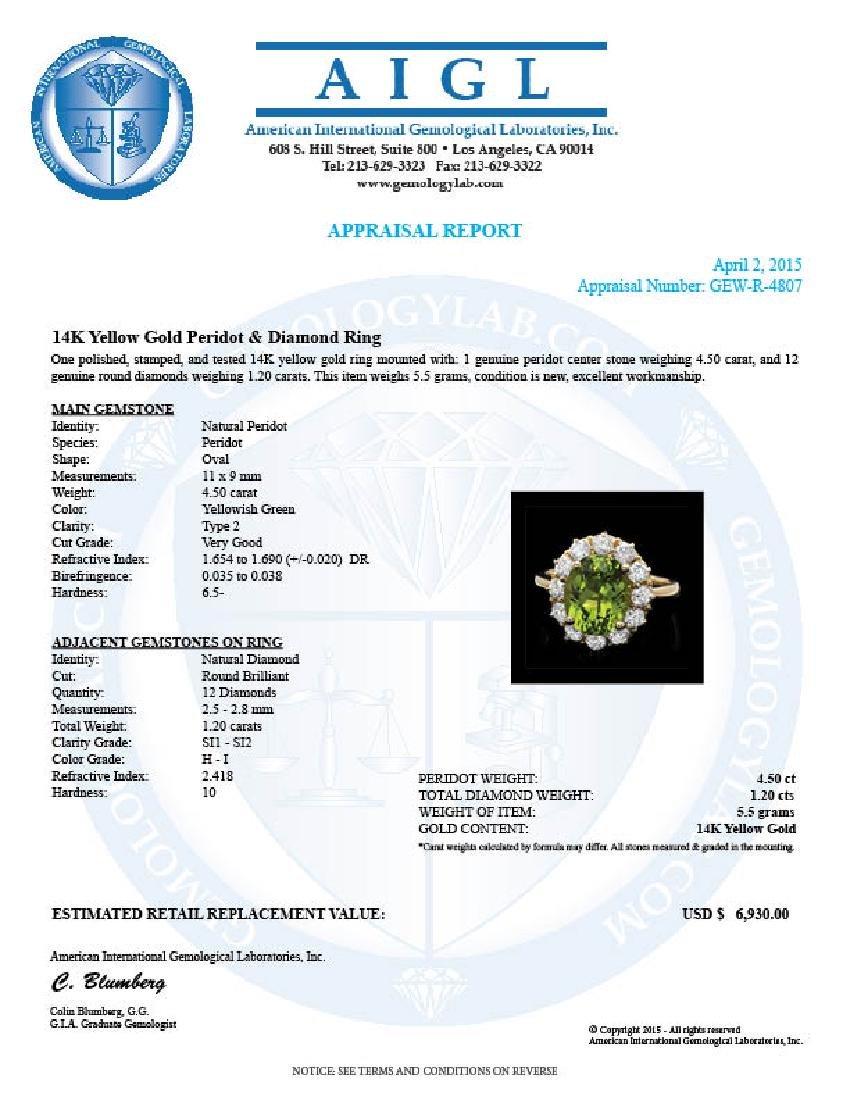 14k Gold 4.50ct Peridot 1.20ct Diamond Ring - 4