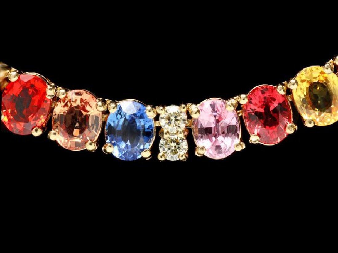 14k Gold 44ct Sapphire 1.0ct Diamond Necklace - 2