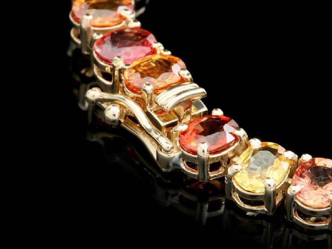 14k Gold 44ct Sapphire 1.0ct Diamond Necklace - 3