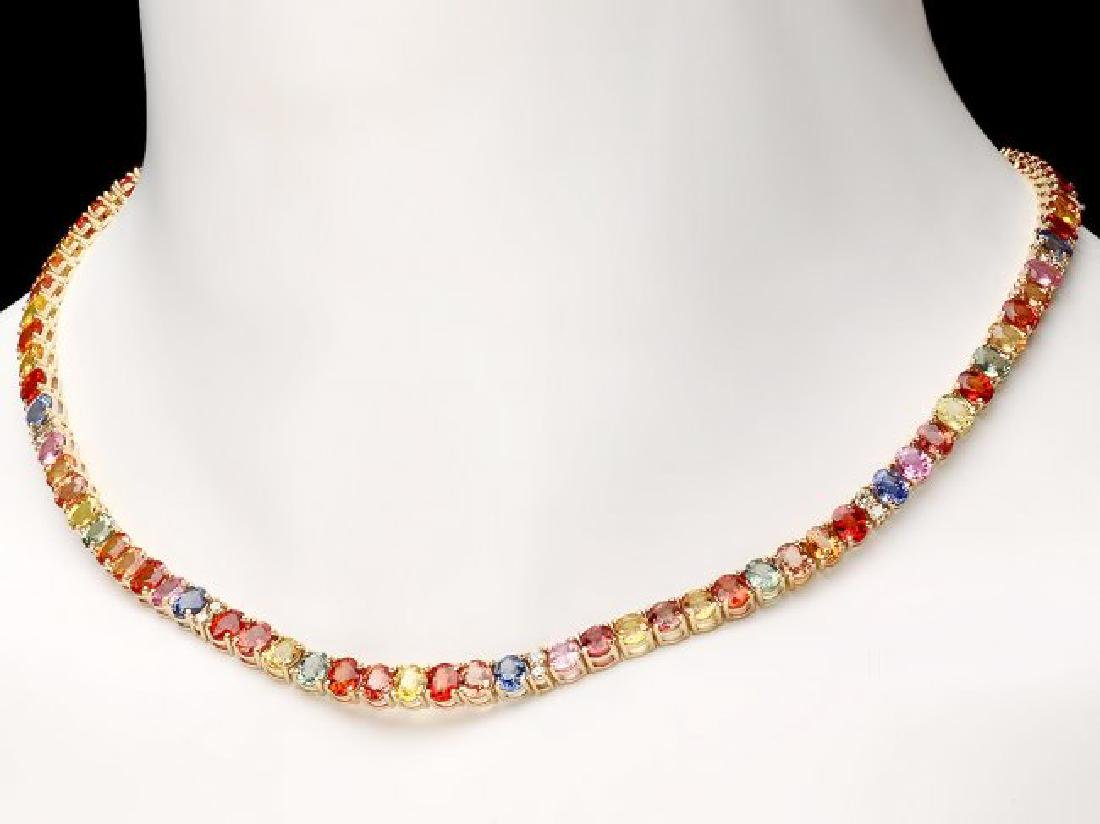 14k Gold 44ct Sapphire 1.0ct Diamond Necklace - 5