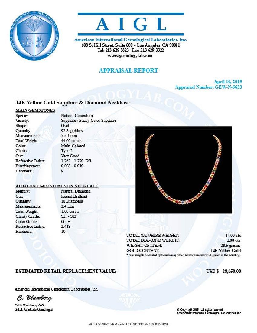 14k Gold 44ct Sapphire 1.0ct Diamond Necklace - 6
