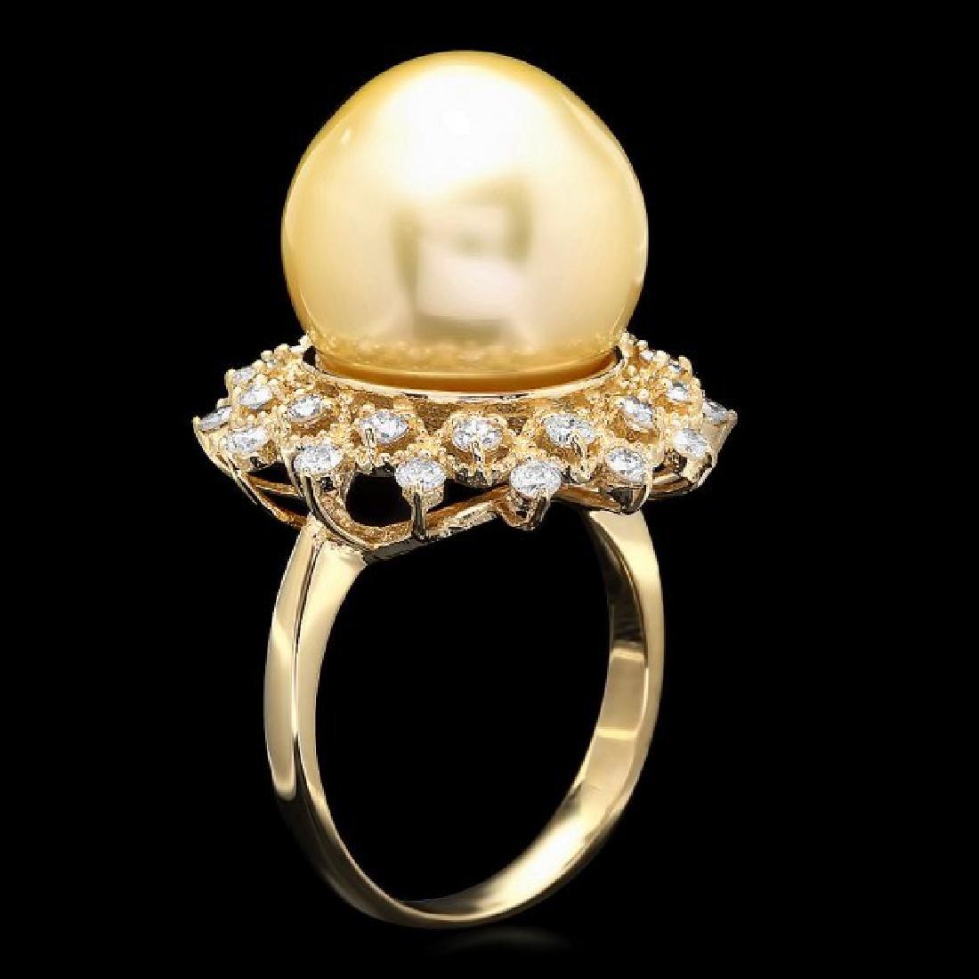 14k Gold 14 X 14mm Pearl 0.90ct Diamond Ring - 2