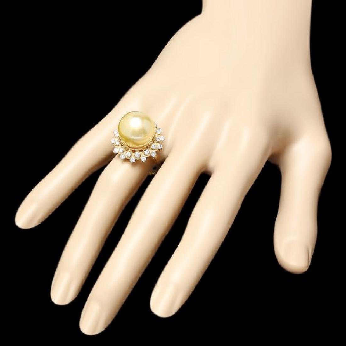 14k Gold 14 X 14mm Pearl 0.90ct Diamond Ring - 3