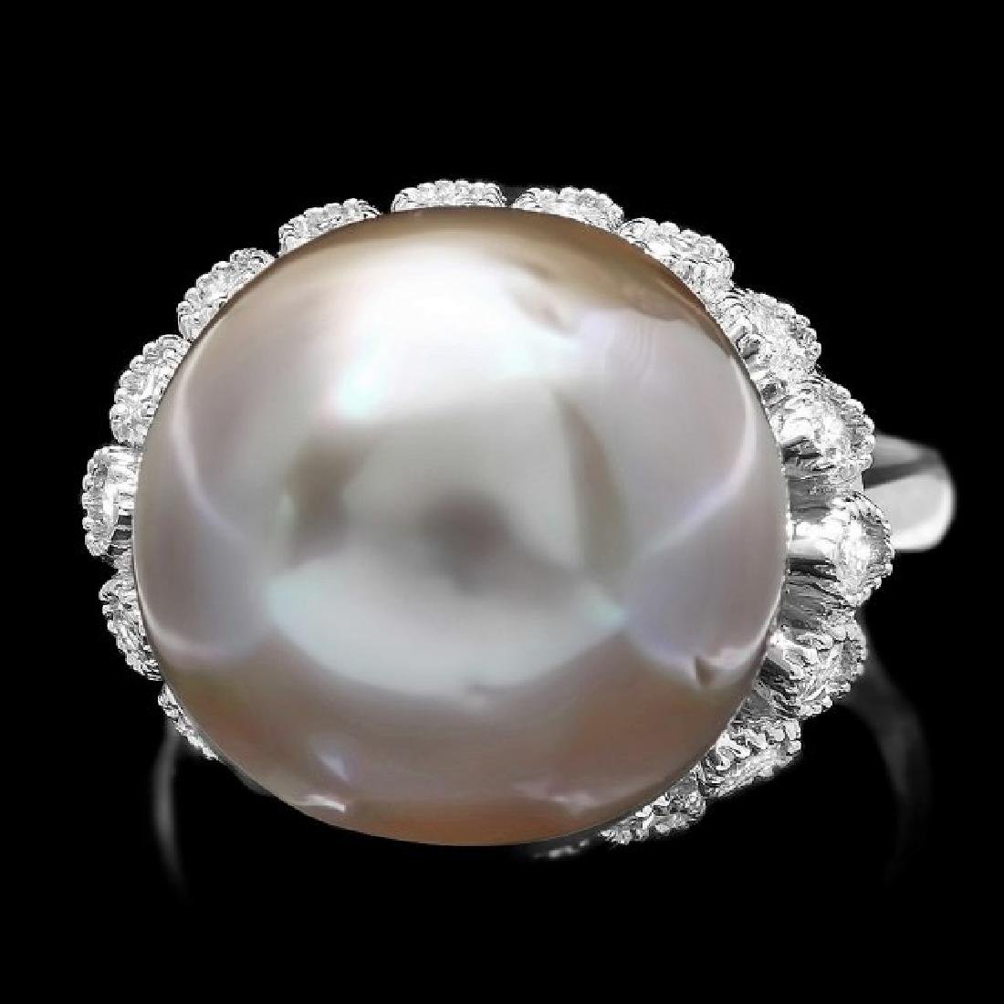 14k Gold 14 X 14mm Pearl 0.70ct Diamond Ring