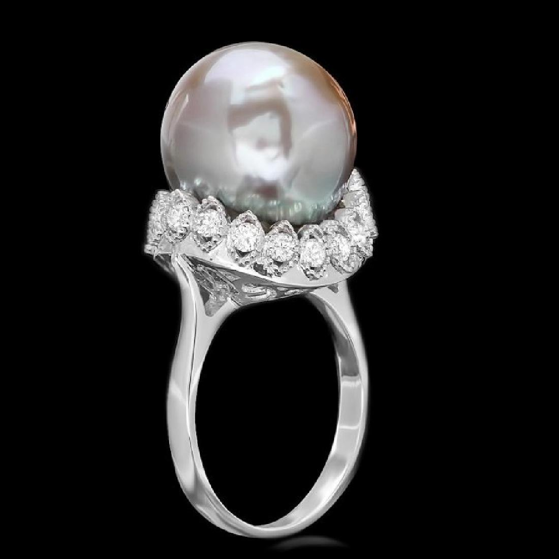 14k Gold 14 X 14mm Pearl 0.70ct Diamond Ring - 2