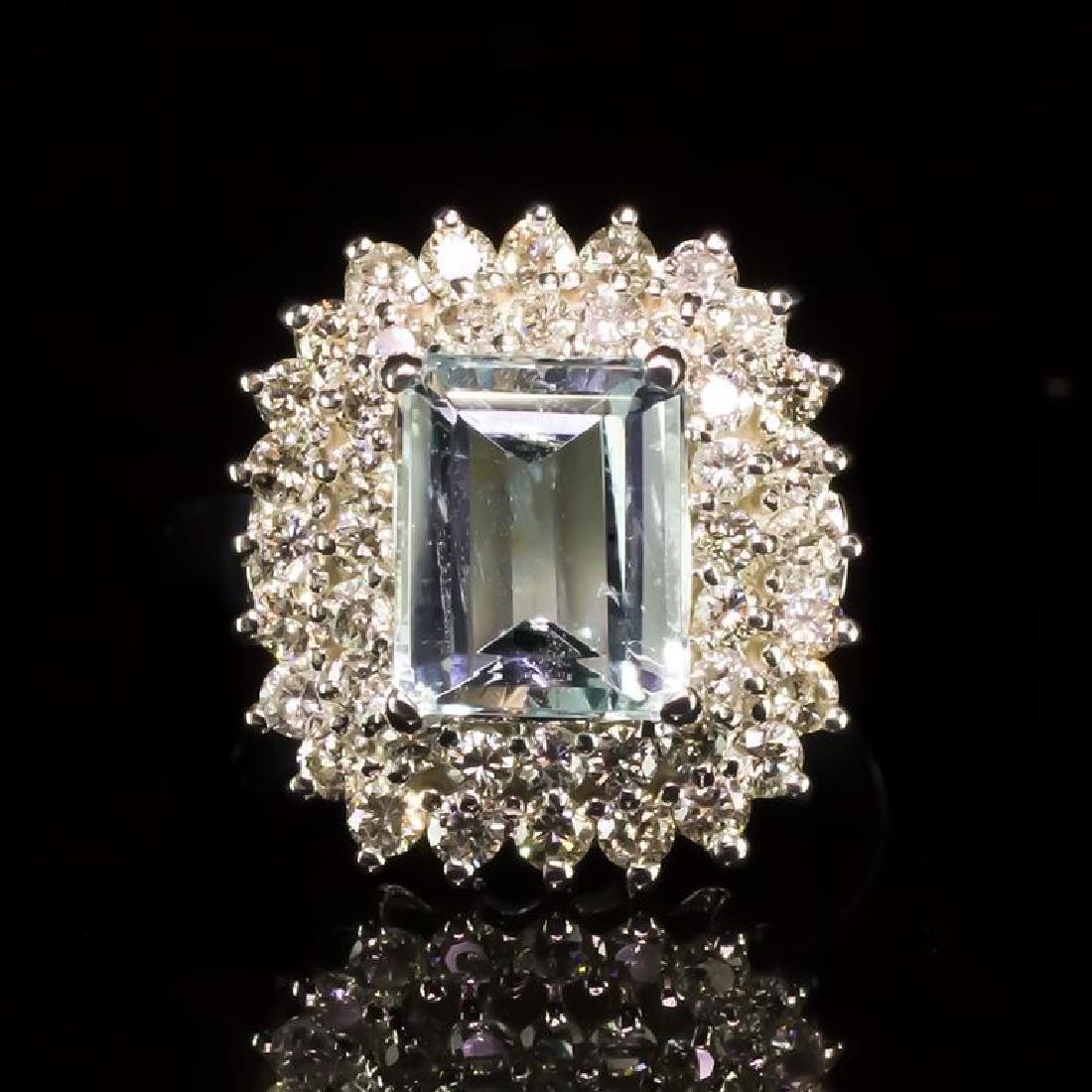 14k Gold 2.06ct Aquamarine 1.11ct Diamond Ring