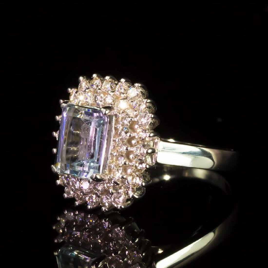 14k Gold 2.06ct Aquamarine 1.11ct Diamond Ring - 2