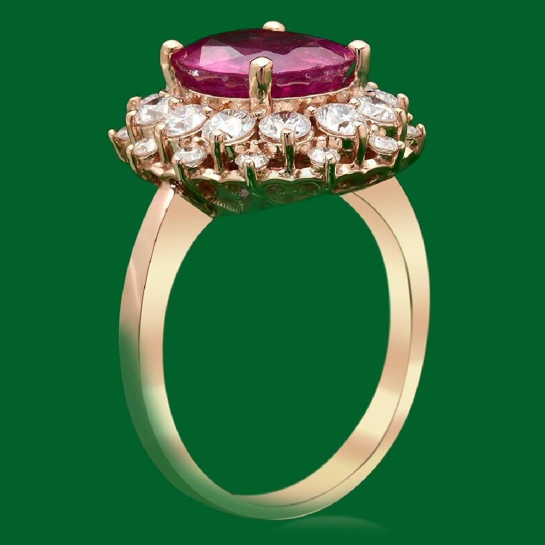 14k Gold 4.05ct Ruby 1.60ct Diamond Ring - 2