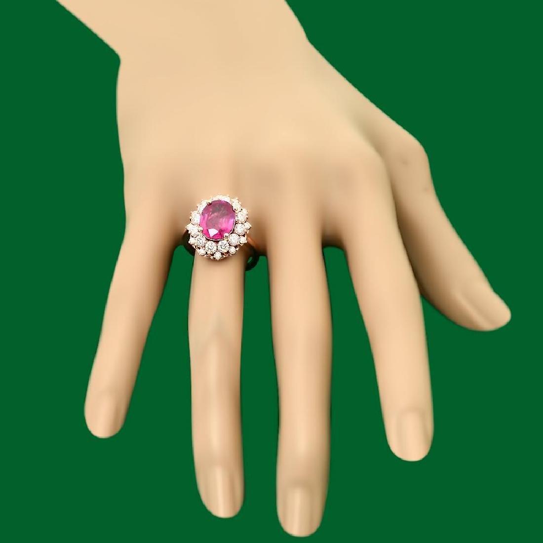 14k Gold 4.05ct Ruby 1.60ct Diamond Ring - 3
