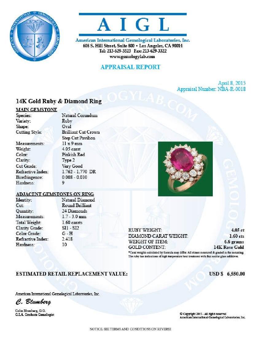 14k Gold 4.05ct Ruby 1.60ct Diamond Ring - 4