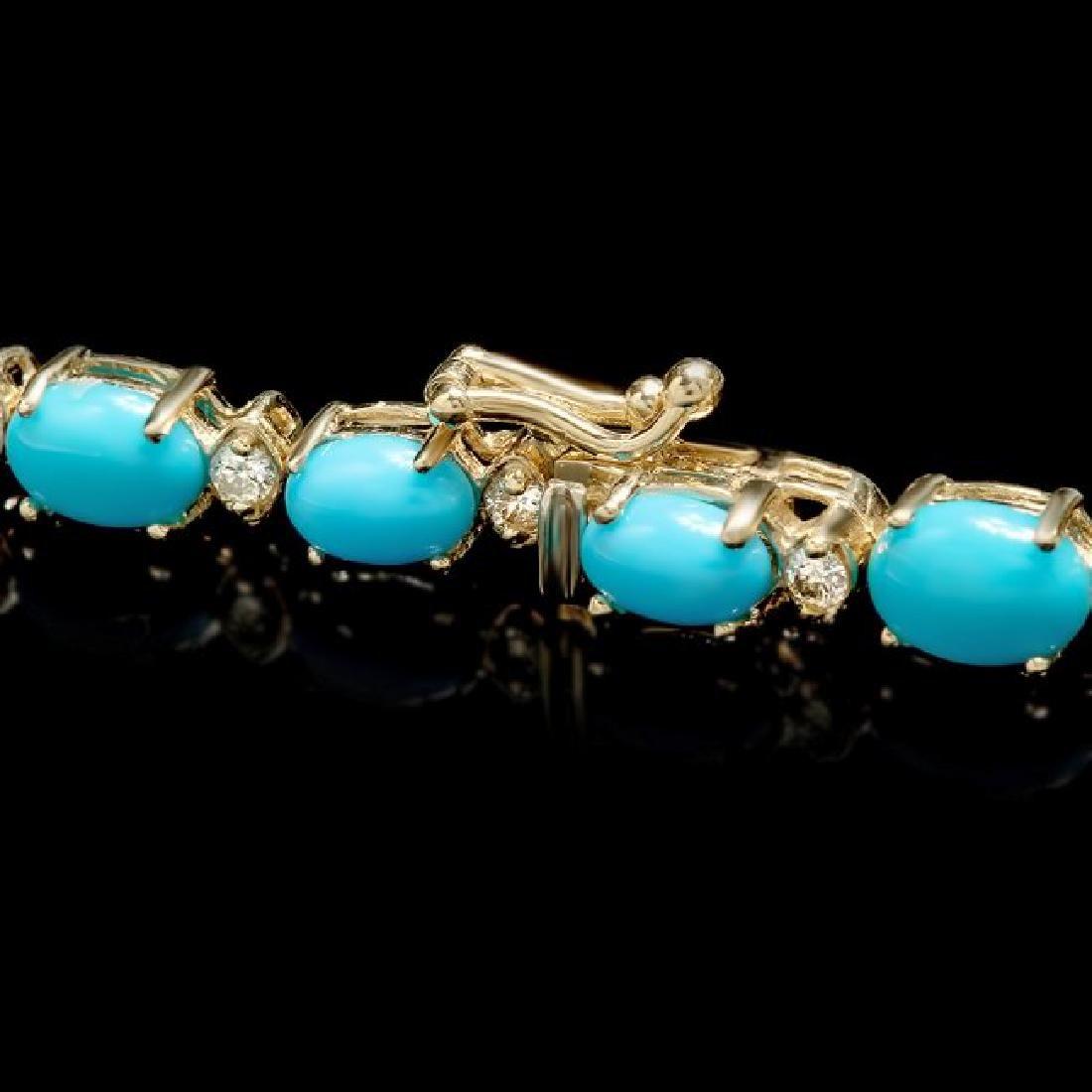 14k 12.00ct Turquoise 0.70ct Diamond Bracelet - 3