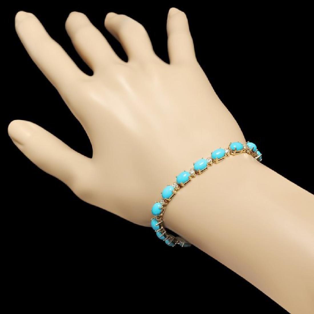 14k 12.00ct Turquoise 0.70ct Diamond Bracelet - 4