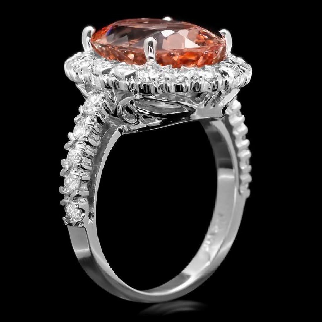 14k Gold 7.25ct Morganite 1.20ct Diamond Ring - 2