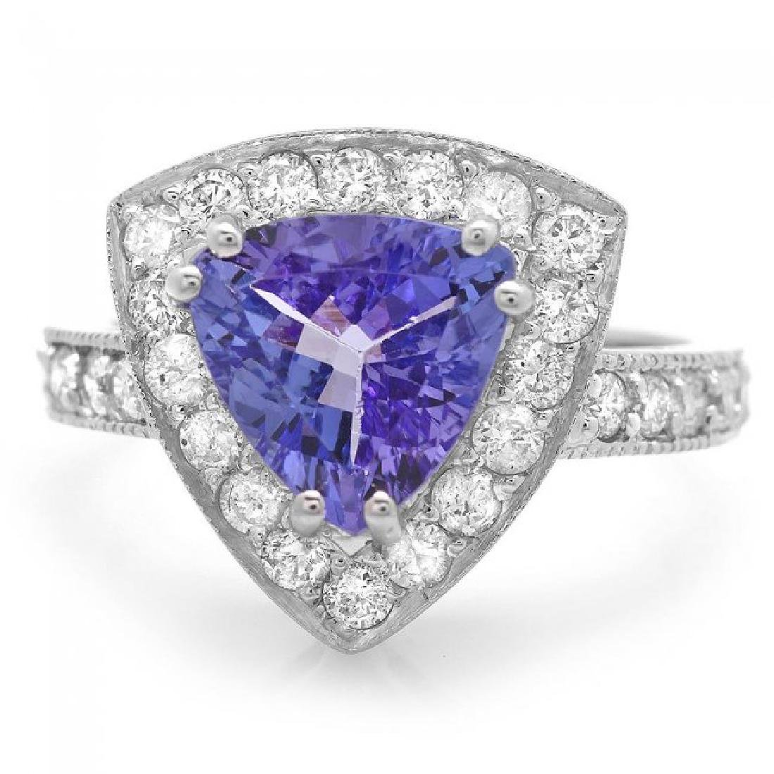 14k Gold 2.40ct Tanzanite 1.00ct Diamond Ring - 2