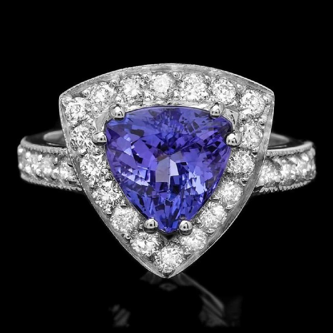 14k Gold 2.70ct Tanzanite 1.10ct Diamond Ring