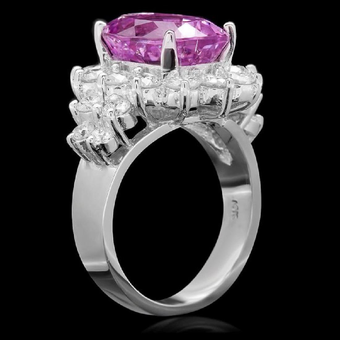 14k White Gold 6.00ct Kunzite 2.10ct Diamond Ring - 2