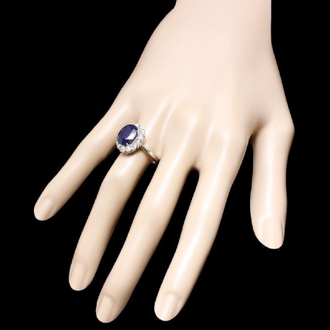 14k Gold 5.00ct Sapphire 1.00ct Diamond Ring - 3