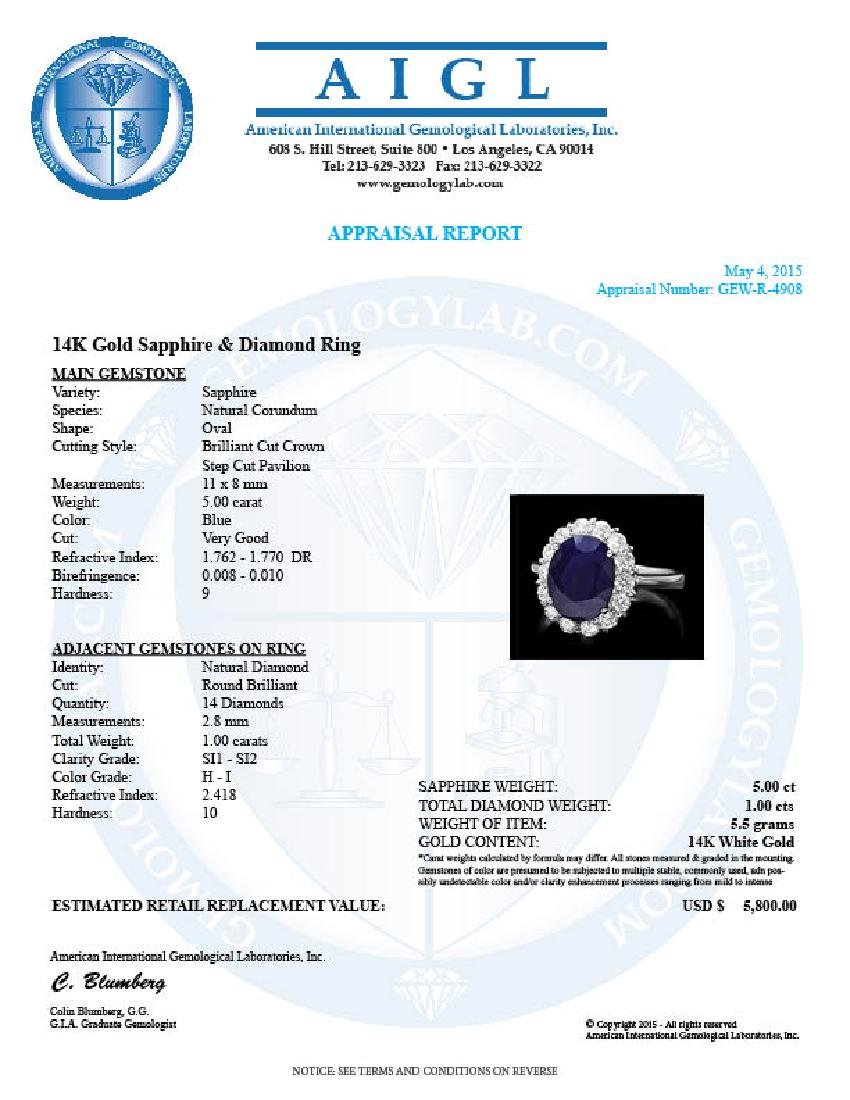 14k Gold 5.00ct Sapphire 1.00ct Diamond Ring - 4