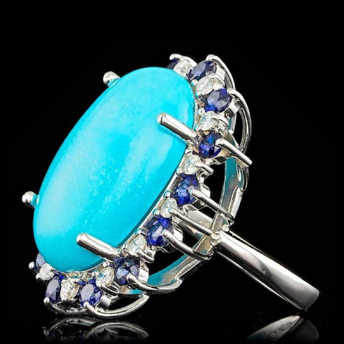 14k Gold 17.50ct Turquoise 0.60ct Diamond Ring - 2