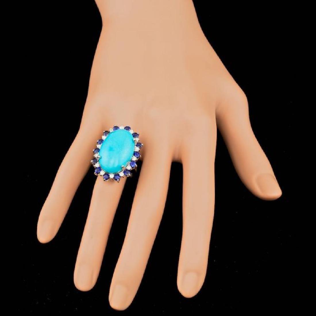 14k Gold 17.50ct Turquoise 0.60ct Diamond Ring - 3