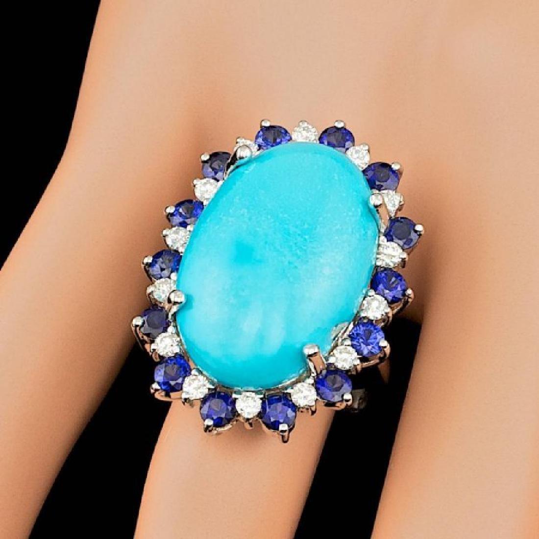 14k Gold 17.50ct Turquoise 0.60ct Diamond Ring - 4