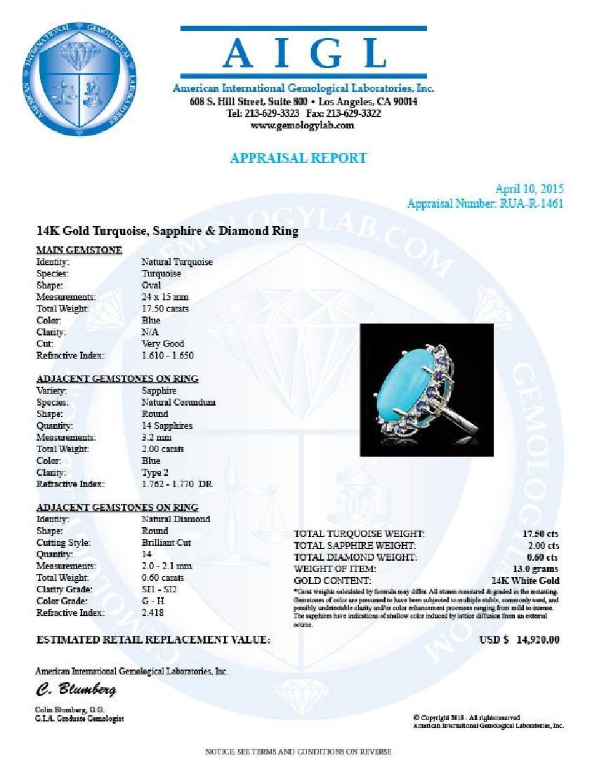 14k Gold 17.50ct Turquoise 0.60ct Diamond Ring - 5