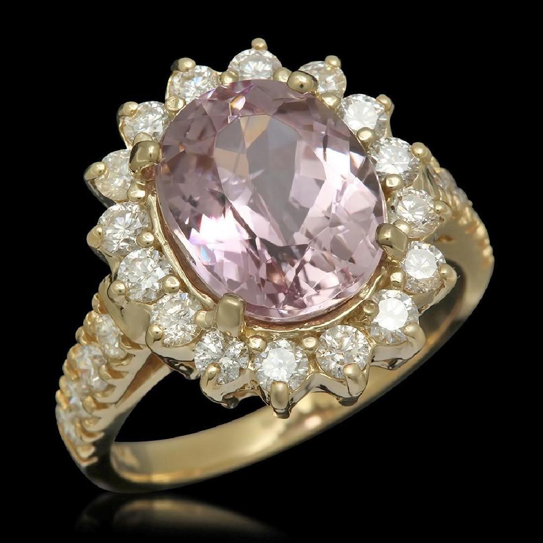14K Gold 4.50ct Kunzite 1.21ct Diamond Ring