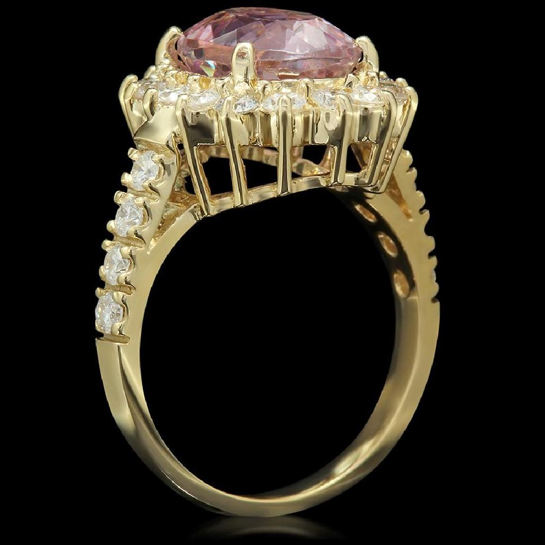 14K Gold 4.50ct Kunzite 1.21ct Diamond Ring - 2