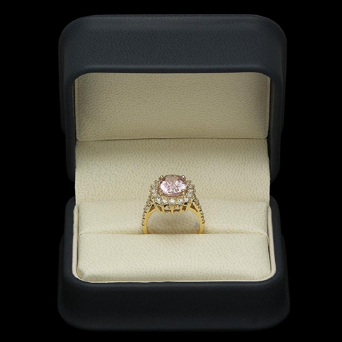 14K Gold 4.50ct Kunzite 1.21ct Diamond Ring - 4