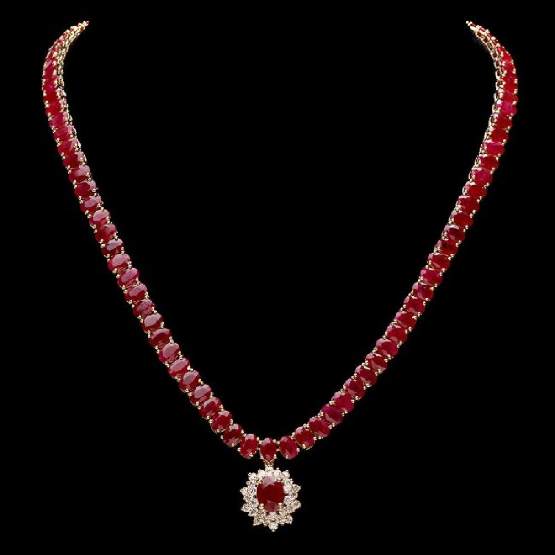 14k Gold 54.9ct Ruby 1.40ct Diamond Necklace