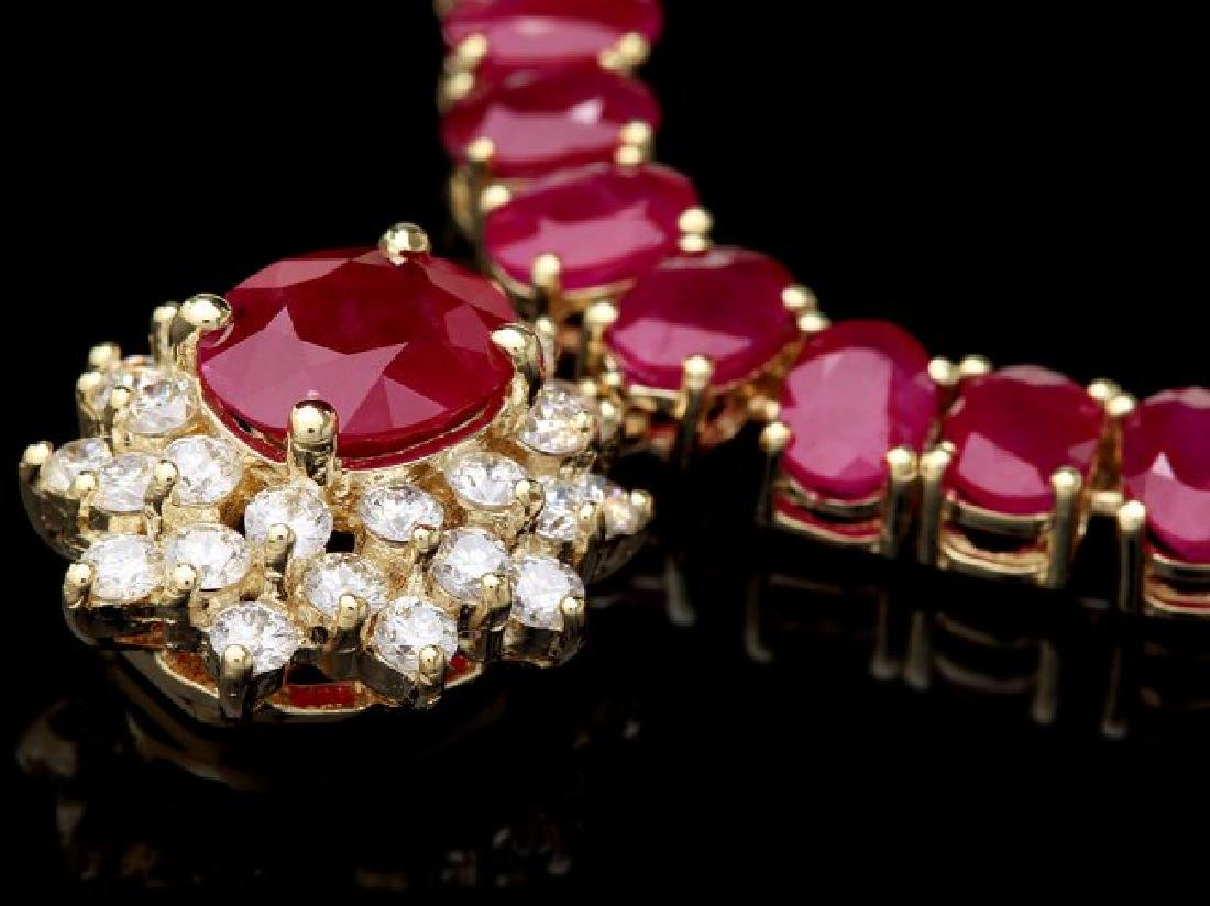 14k Gold 54.9ct Ruby 1.40ct Diamond Necklace - 3