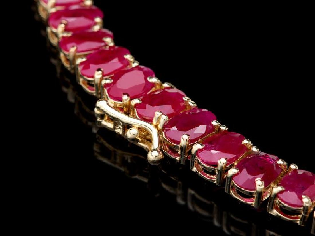 14k Gold 54.9ct Ruby 1.40ct Diamond Necklace - 4