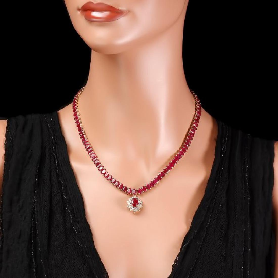 14k Gold 54.9ct Ruby 1.40ct Diamond Necklace - 6