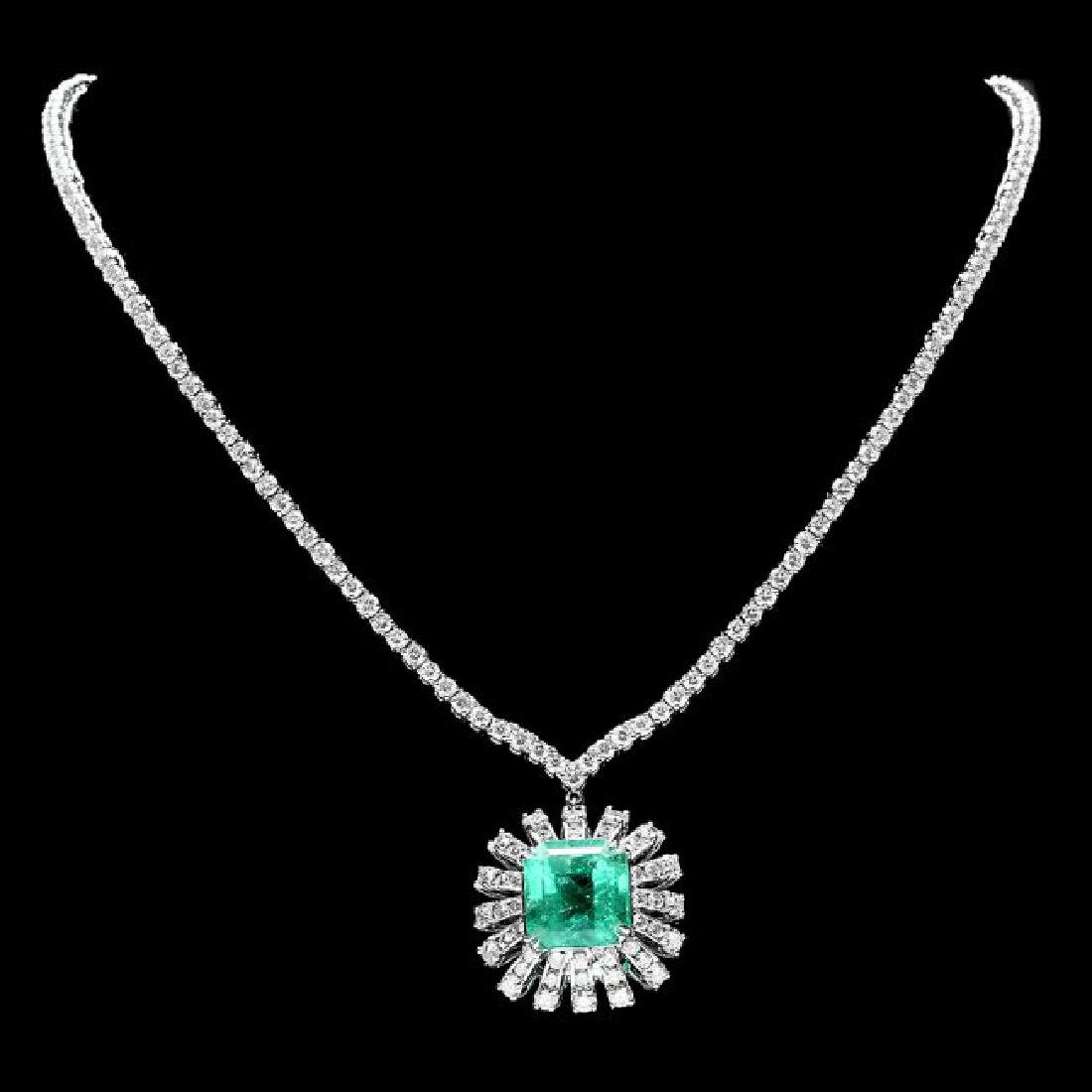 18k Gold 9.00ct Emerald 11ct Diamond Necklace
