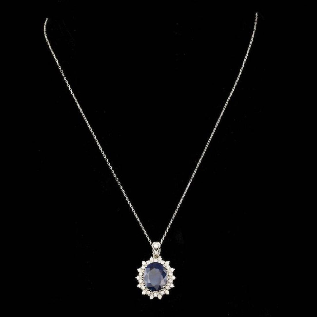 14k Gold 8.00ct Sapphire 0.80ct Diamond Pendant - 2