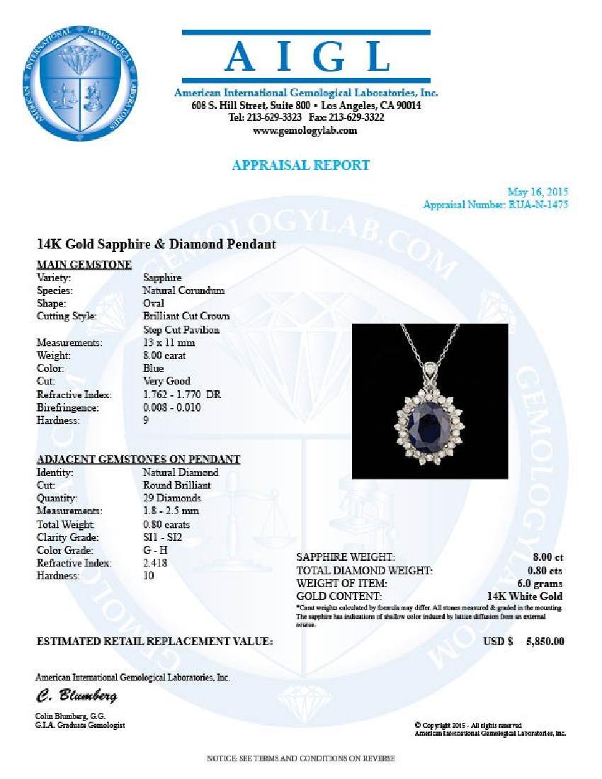 14k Gold 8.00ct Sapphire 0.80ct Diamond Pendant - 5
