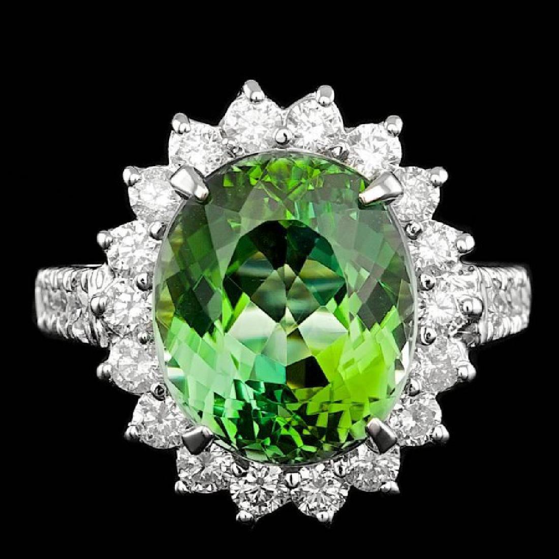 14k Gold 8.00ct Tourmaline 1.25ct Diamond Ring