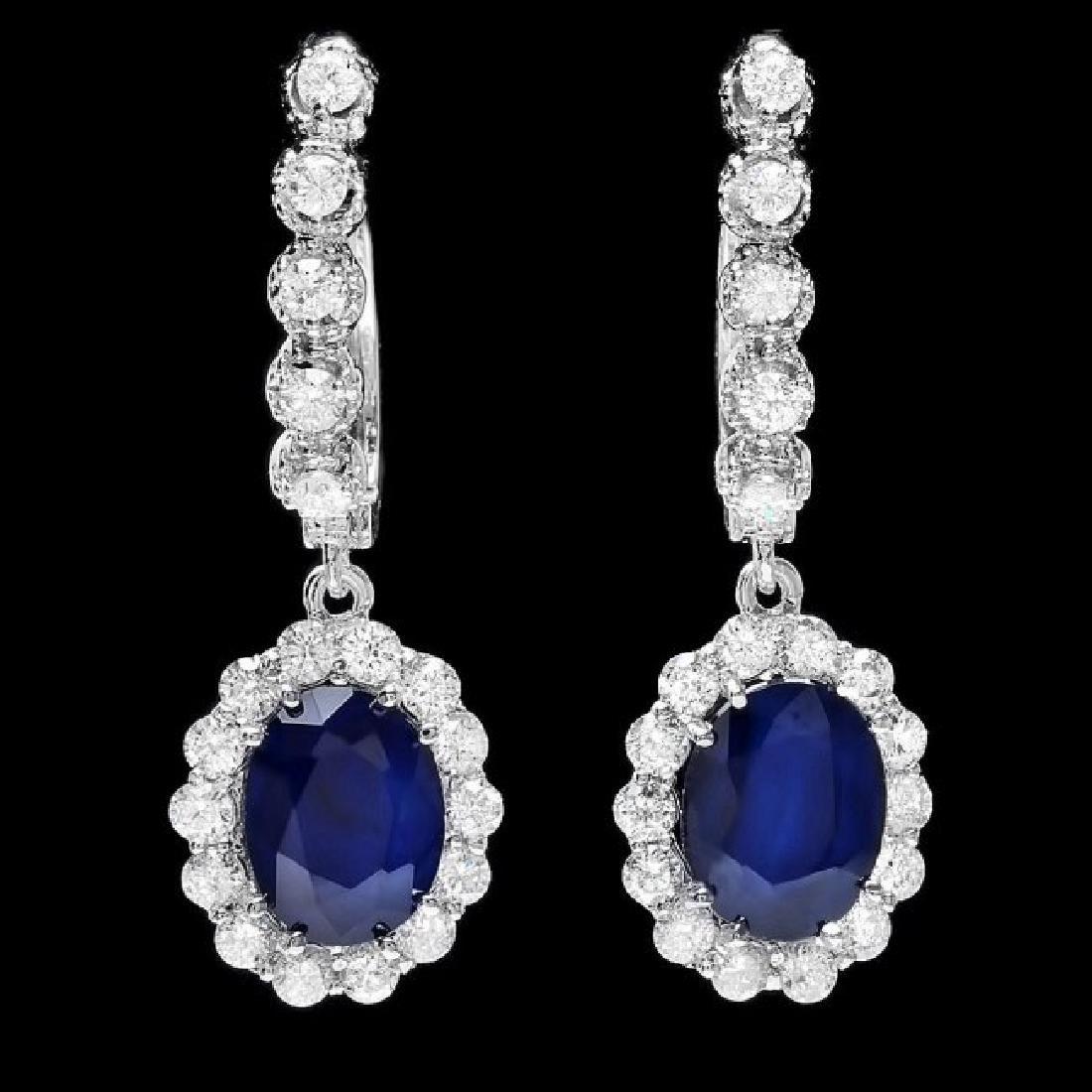 14k Gold 4ct Sapphire 1.40ct Diamond Earrings