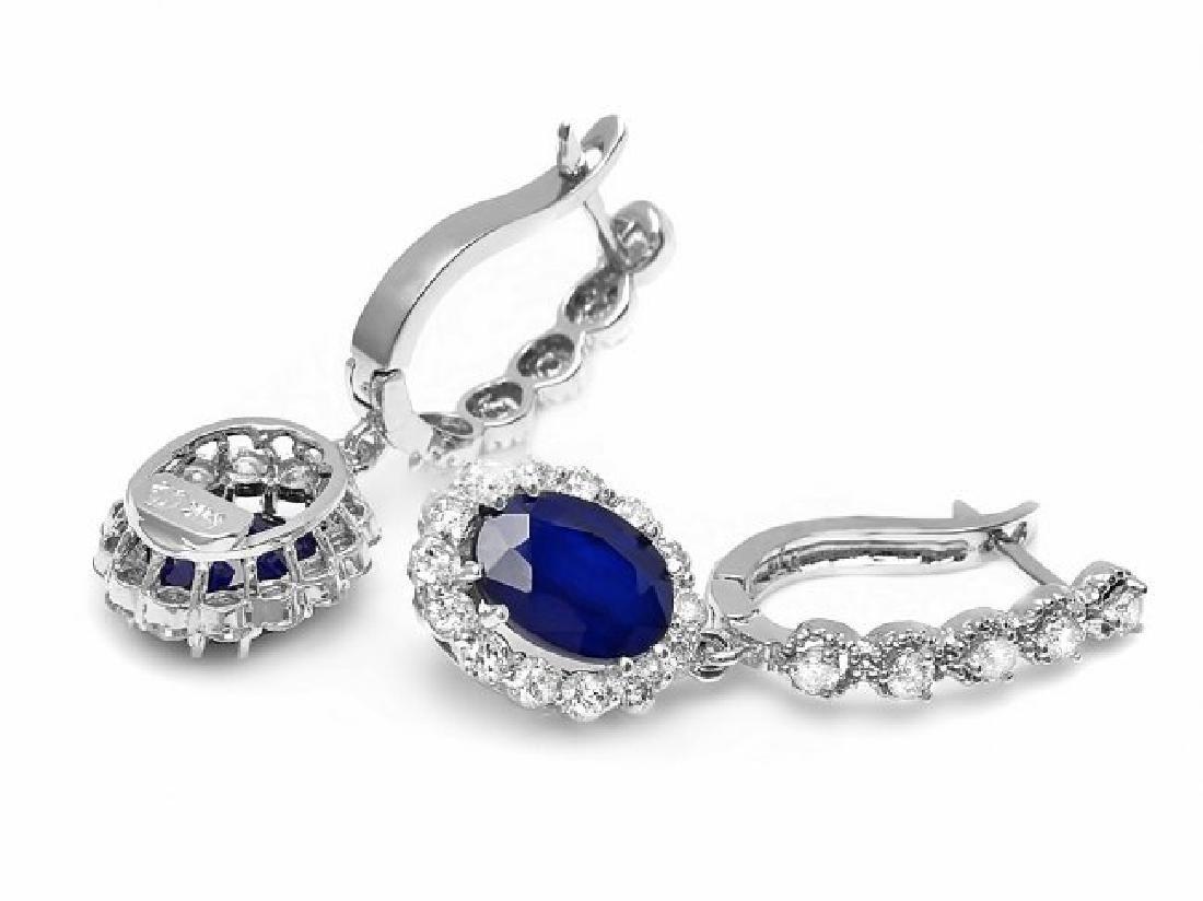 14k Gold 4ct Sapphire 1.40ct Diamond Earrings - 2