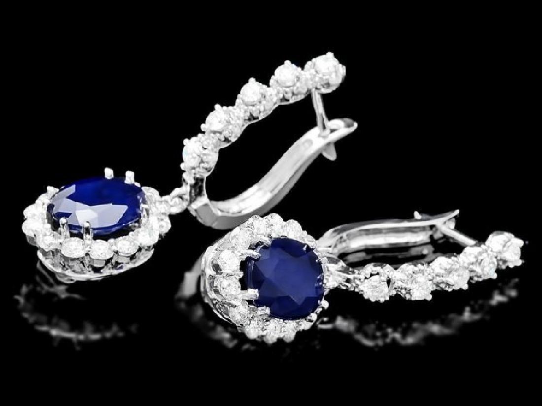 14k Gold 4ct Sapphire 1.40ct Diamond Earrings - 3