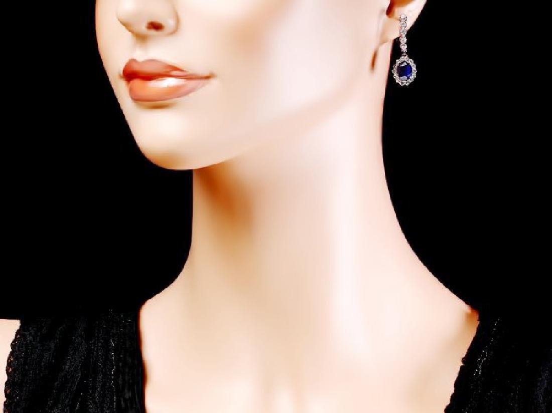 14k Gold 4ct Sapphire 1.40ct Diamond Earrings - 4