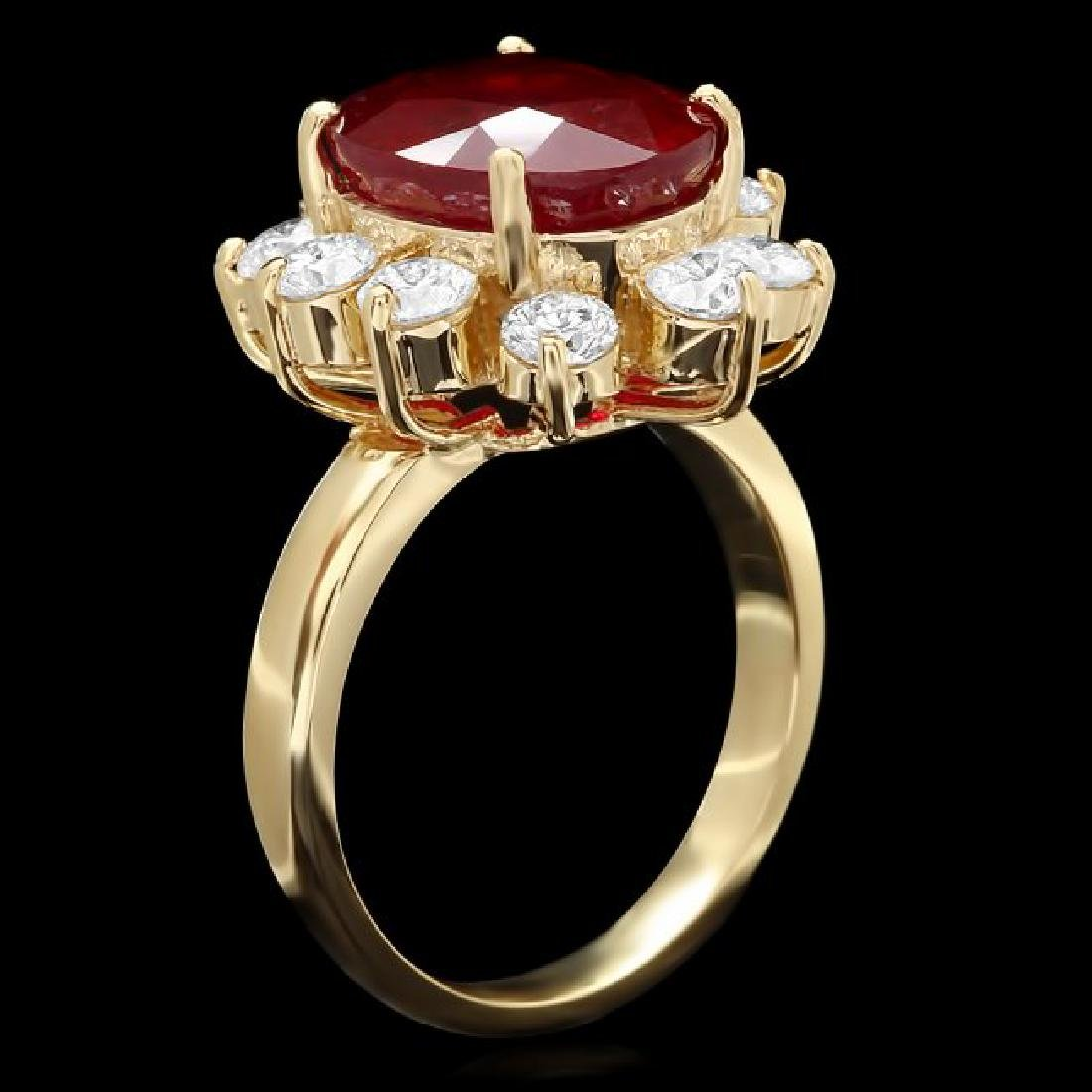 14k Yellow Gold 8.00ct Ruby 1.50ct Diamond Ring - 2