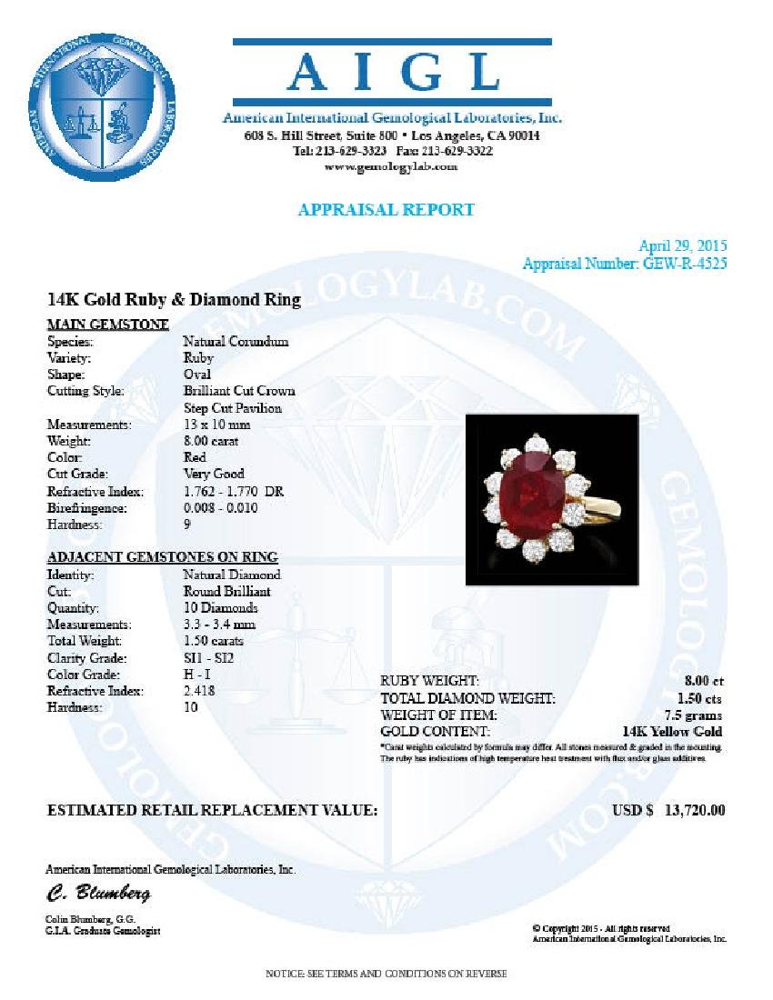 14k Yellow Gold 8.00ct Ruby 1.50ct Diamond Ring - 4