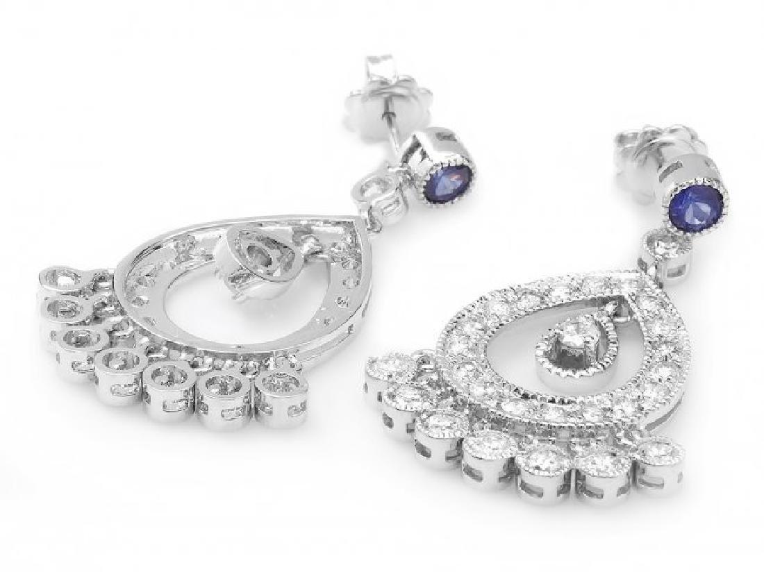 14k Gold 3ct Diamond 0.70ct Sapphire Earrings - 3