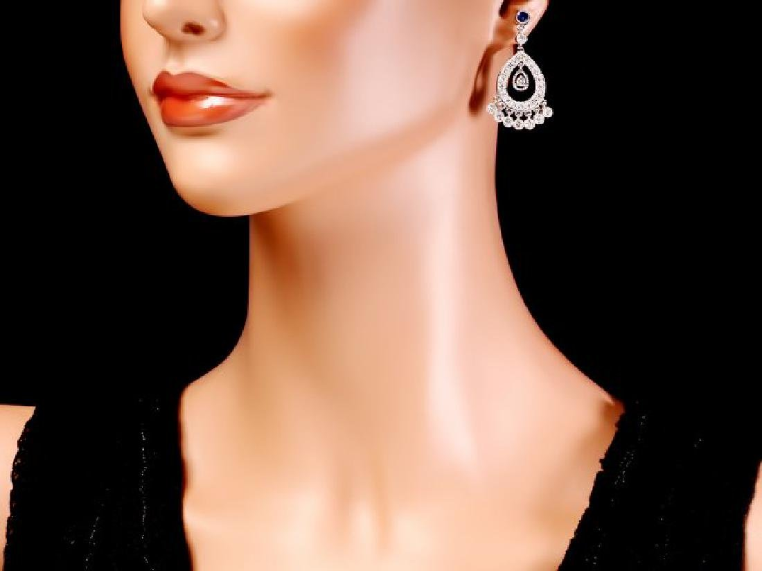 14k Gold 3ct Diamond 0.70ct Sapphire Earrings - 4