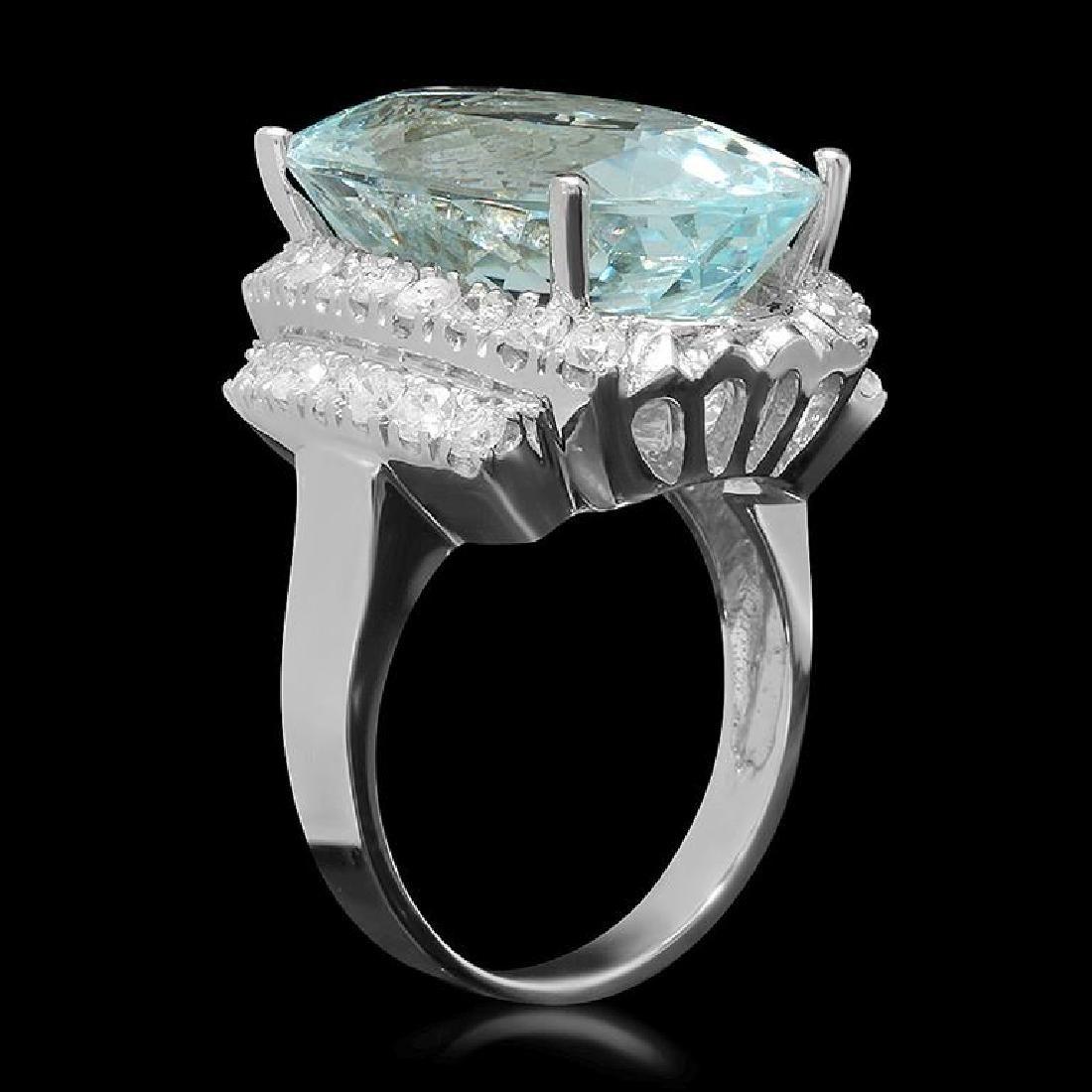 14K Gold 14.95ct Aquamarine 1.17ct Diamond Ring - 2