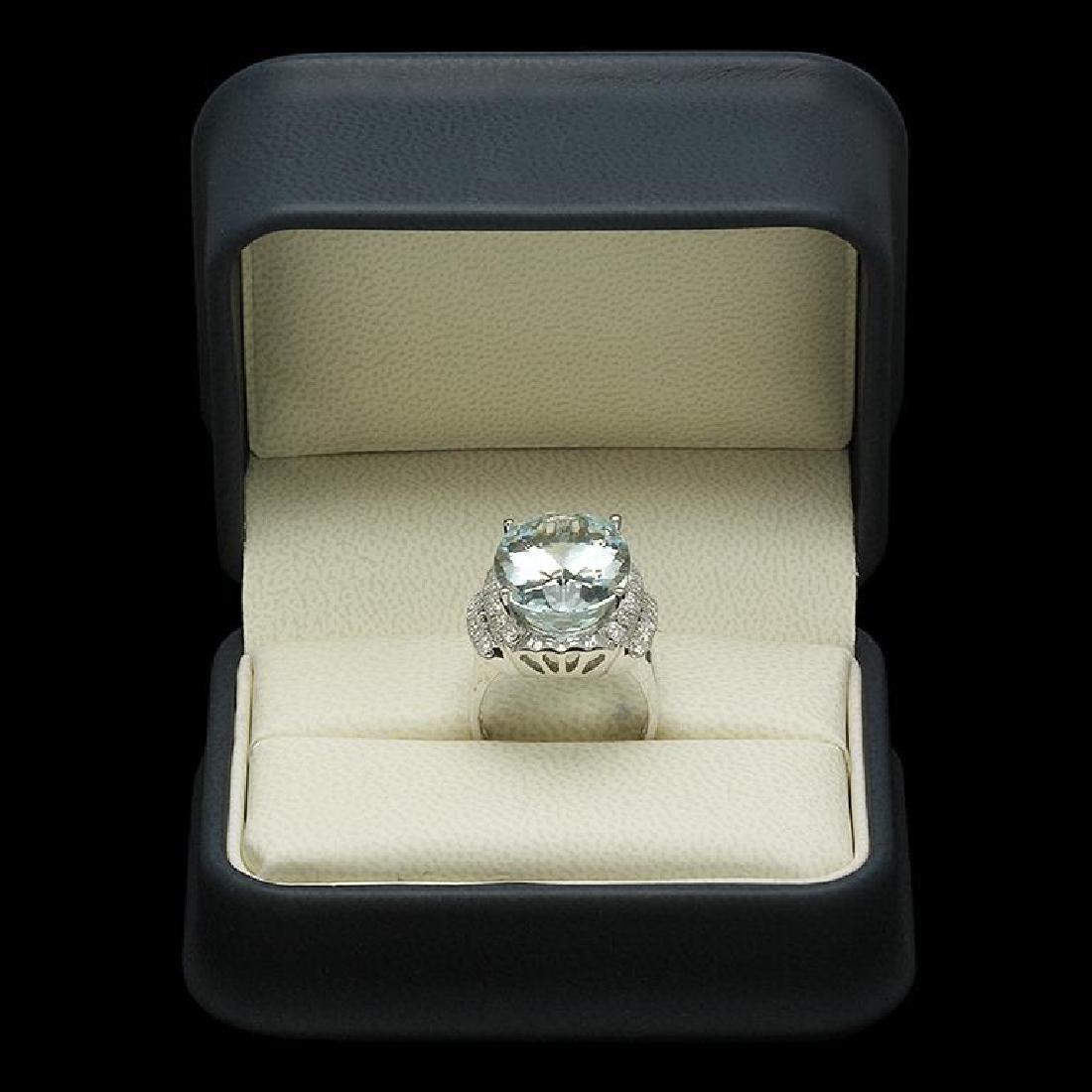 14K Gold 14.95ct Aquamarine 1.17ct Diamond Ring - 3